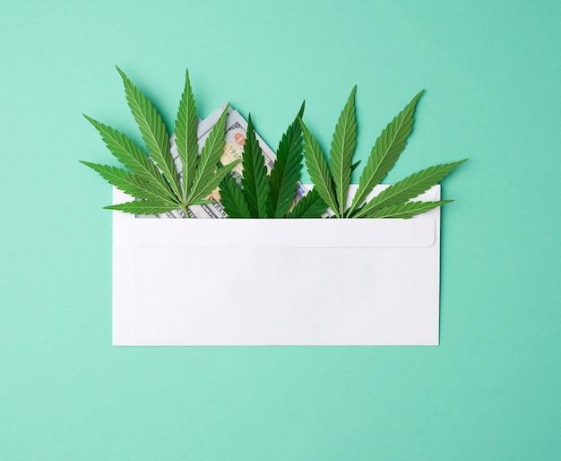 Busta di carta bianca con una foglia verde di canapa su uno spazio verde