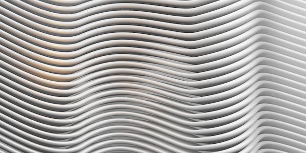 Linee parallele bianche arco onda tubo di plastica superficie curva distorta sfondo astratto 3d illustrazione