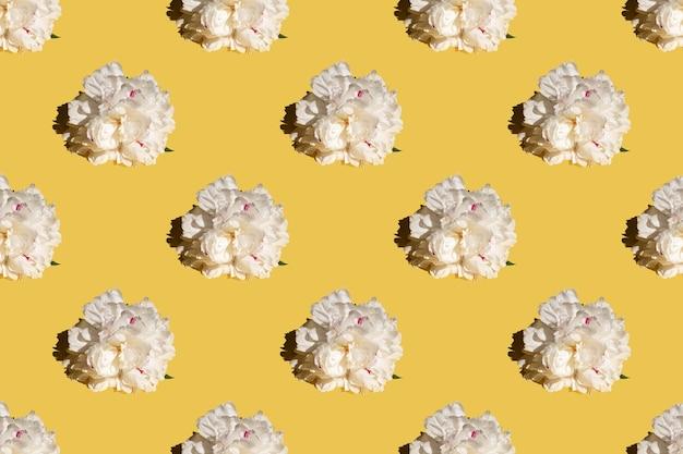 Germoglio di peonia bianco su sfondo giallo. modello senza cuciture, design per tessuto, carta da parati, logo, moda, stampa.