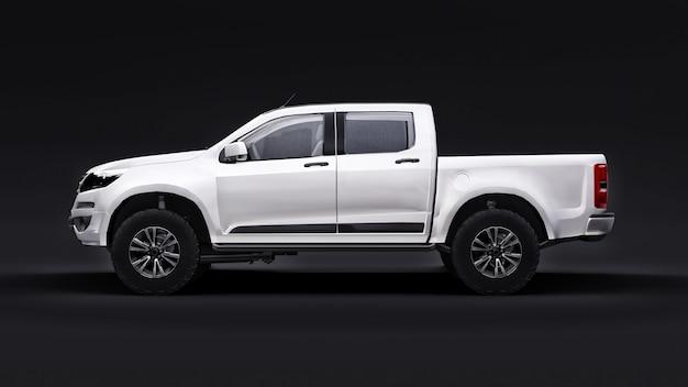 Auto pick-up bianco su sfondo nero. rendering 3d.