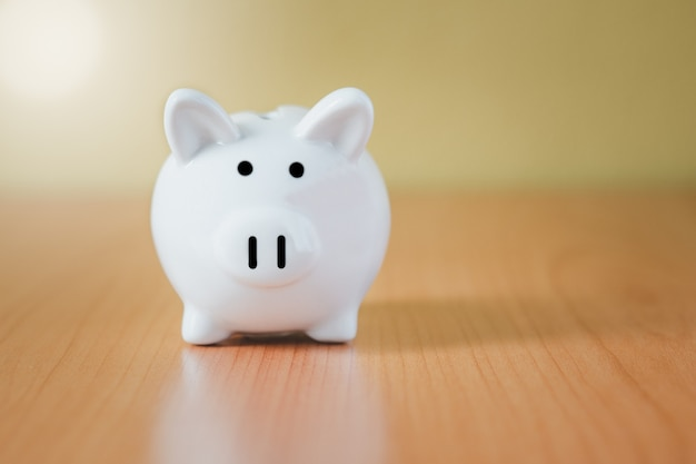 Salvadanaio bianco per risparmi con denaro e pianificazione per crescere, risparmiare denaro per il fondo pensione e il concetto di piano futuro.