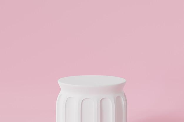 Podio pilastro bianco per pubblicità su superficie rosa
