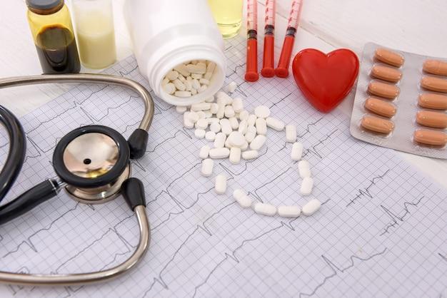 Pillole bianche su cardiogramma con farmaci e siringhe