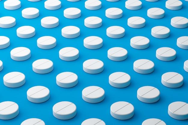 Pillole bianche di molti antidolorifici con un modello su una superficie blu medica. pillole per tablet per alleviare la malattia o la febbre. rendering 3d.