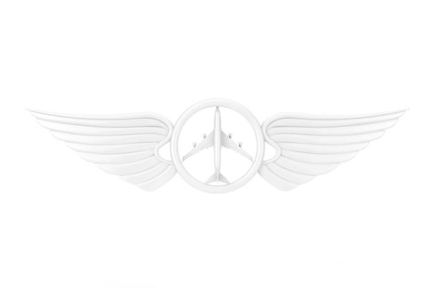 Emblema dell'ala pilota bianco, distintivo o simbolo del logo in stile argilla su sfondo bianco. rendering 3d