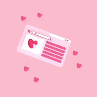 Browser della homepage del cuore bianco e rosa con poco amore intorno al browser 3d reso