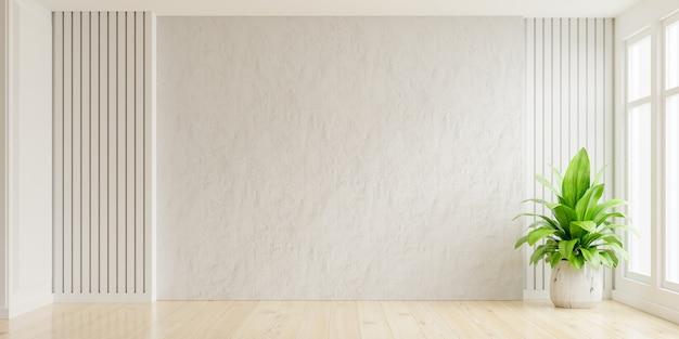 Stanza vuota del muro di intonaco bianco con piante su un pavimento, rendering 3d