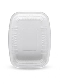 Contenitore di alimento di plastica bianco isolato