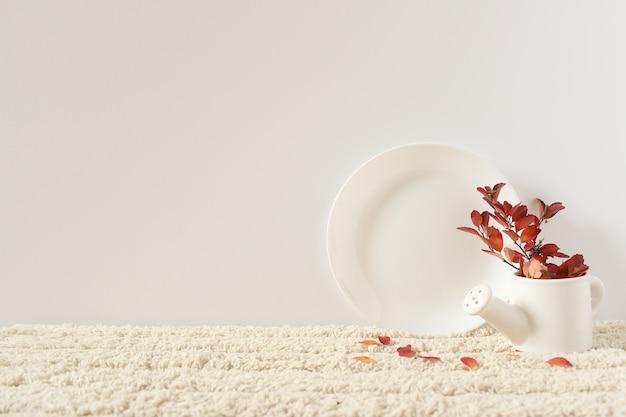 Piatto bianco, brocca. ramoscello con foglie autunnali rosse. oggetti su un soffice tappeto bianco contro un muro bianco.