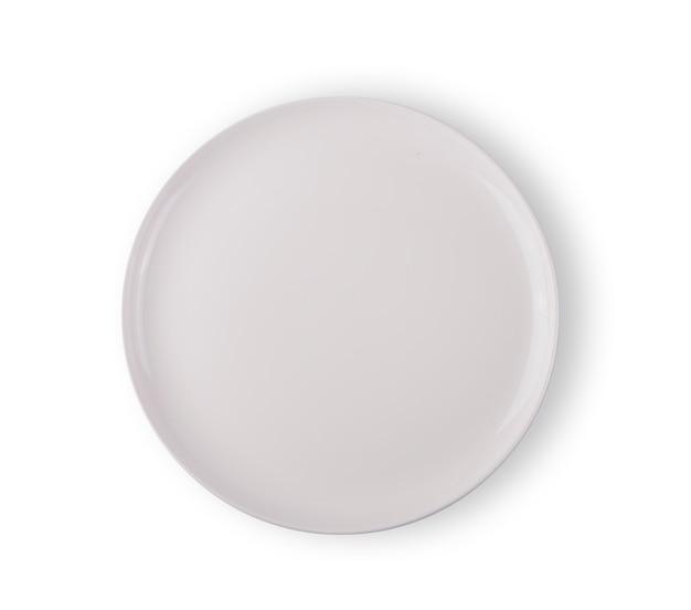 Vista dall'alto del piatto bianco su sfondo bianco