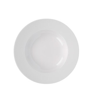 Piatto bianco su sfondo bianco