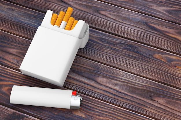 Accendino tascabile bianco vicino al pacchetto di sigarette vuoto mockup su un tavolo di legno. rendering 3d