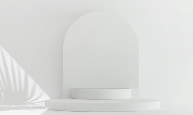 Podio bianco espositore cosmetico con rendering 3d di piante verdi con ombre sfocate