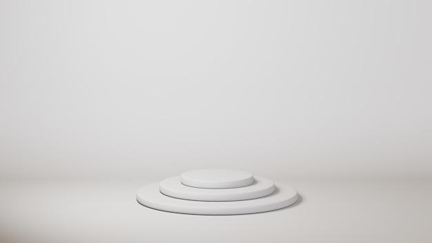 Modello di cilindro podio bianco su sfondo bianco
