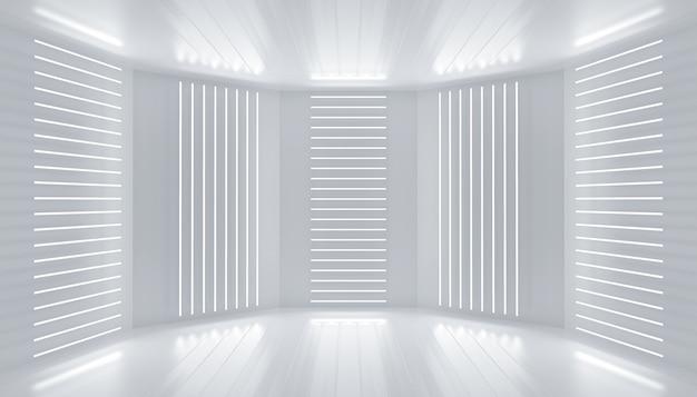 Decorazione del podio bianco palcoscenico vuoto linee al neon luci stanza sfondo astratto pannelli a parete incandescente