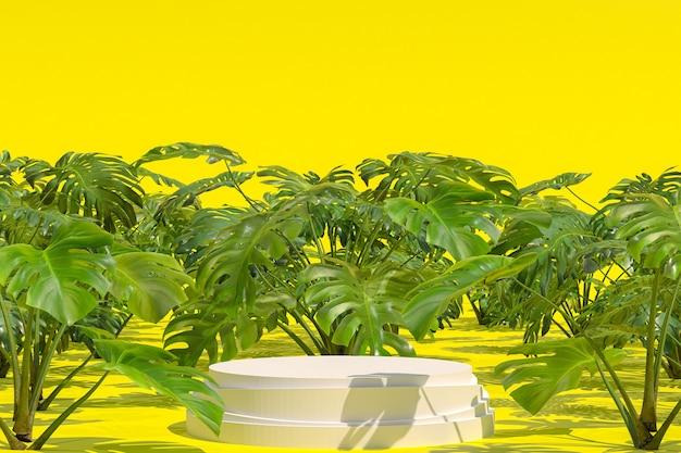 Forma geometrica del podio bianco sul giardino naturale monstera deliciosa per l'esposizione dei prodotti