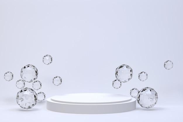 Fondo grigio astratto minimo del podio bianco per la presentazione cosmetica del prodotto