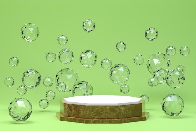 Fondo verde astratto minimo del podio bianco per la presentazione cosmetica del prodotto