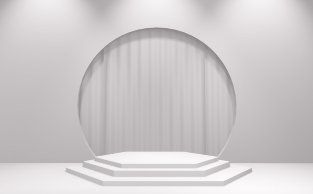 Podio bianco minimo astratto geometrico. 3d rendering