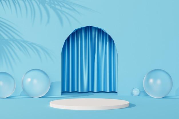 Podio bianco vicino all'ingresso vuoto blu con tende e ombre di foglie tropicali