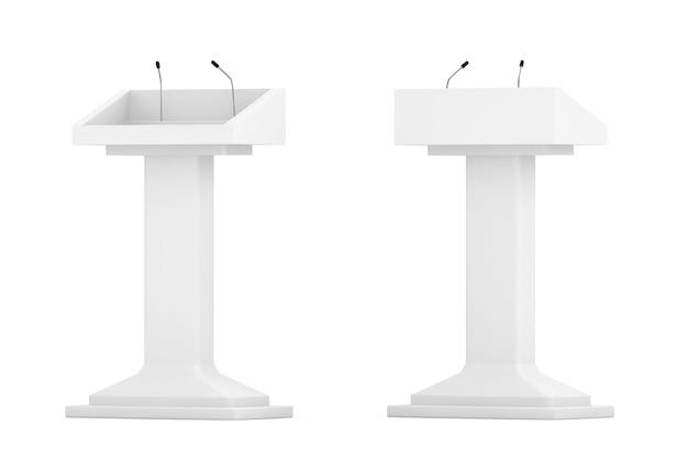 White podium tribune rostrum stand con microfoni su sfondo bianco
