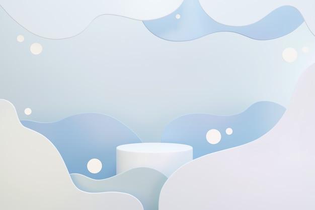 Podio bianco con nuvole blu e grigie astratte, spazio per testo o pubblicità di prodotti, rendering 3d