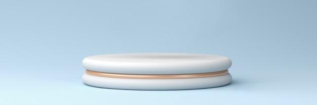 Podio bianco con accenti di bronzo su sfondo blu pastello, rendering 3d