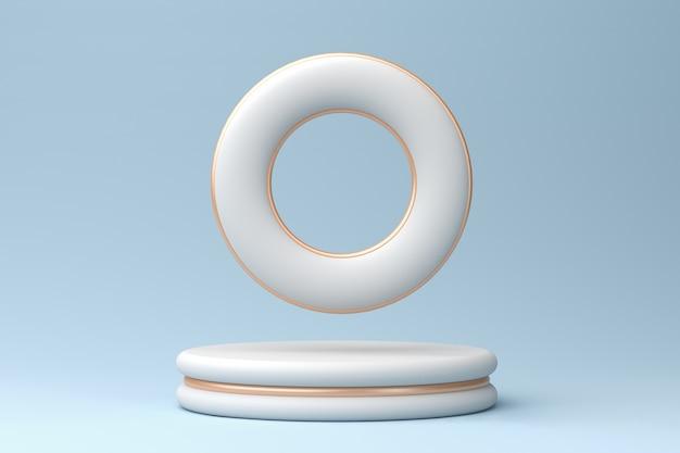 Podio bianco con inserti in bronzo e toroide su sfondo blu pastello, rendering 3d