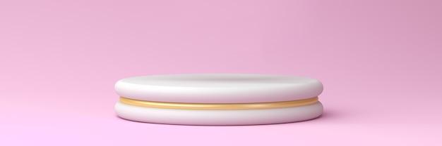Podio bianco con accenti d'oro su sfondo rosa pastello, rendering 3d