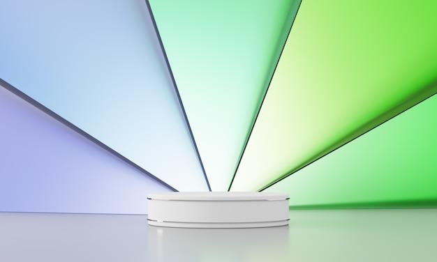 Podio bianco con anello in argento, fondale in vetro colorato sovrapposto a forma triangolare, sfondo astratto. rendering 3d
