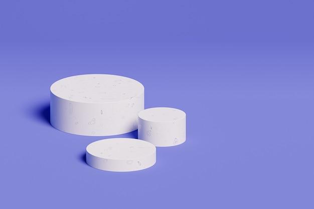 Podi bianchi per pubblicità su superficie blu, rendering minimo di illustrazione 3d
