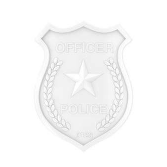 Distintivo bianco dell'ufficiale di polizia nello stile dell'argilla su un fondo bianco. rendering 3d