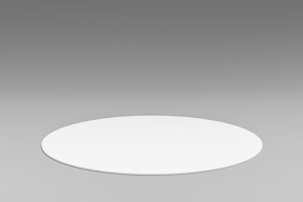Supporto di sfondo bianco del prodotto o piedistallo del podio sul display della sala pubblicitaria con sfondi vuoti rendering 3d.