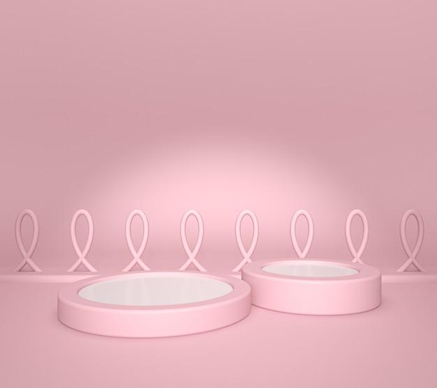 Display prodotto bianco o piedistallo vetrina su sfondo rosa grafico