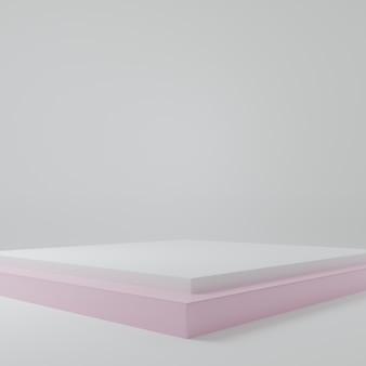 Stand prodotto bianco nella scena dello studio della stanza rosa per il design minimale del prodottorendering 3d
