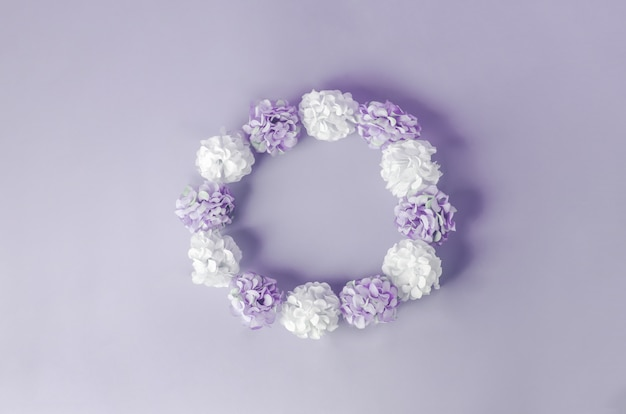 Fiori di ortensia bianchi e viola su sfondo viola
