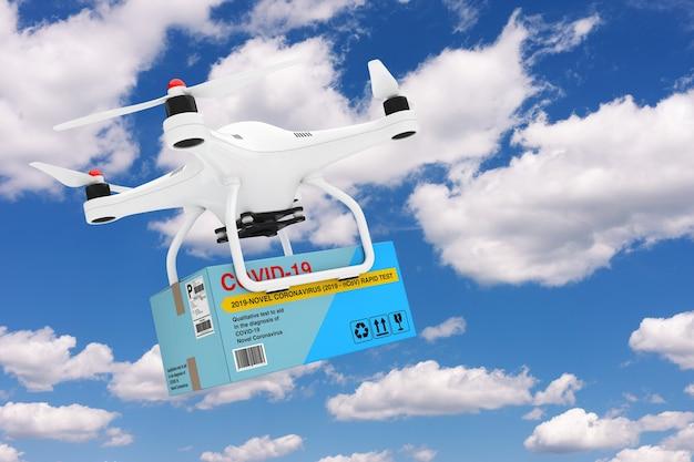 Drone quadrocopter bianco che fornisce un dispositivo di test rapido per il nuovo coronavirus covid-19 2019 n-cov pacchetto scatola di cartone su uno sfondo di cielo blu. rendering 3d