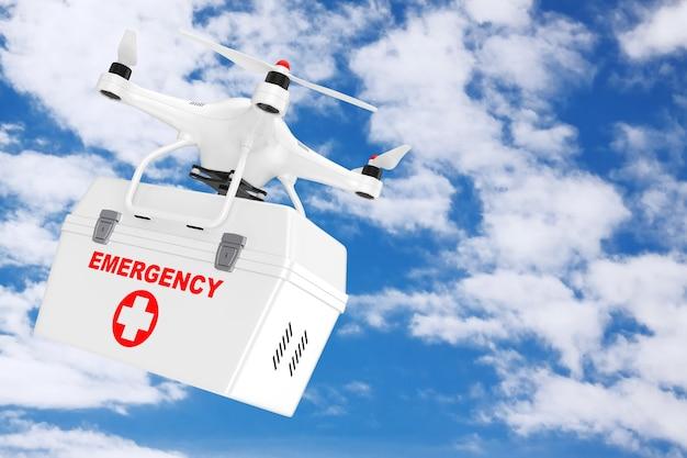 Drone quadrocopter bianco con kit medico di emergenza su uno sfondo di cielo blu. rendering 3d