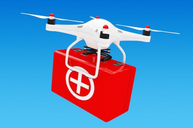 Drone quadrocopter bianco con kit di pronto soccorso su sfondo blu. rendering 3d