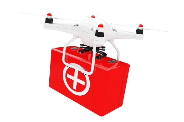 Drone quadrocopter bianco con kit di pronto soccorso su sfondo bianco. rendering 3d