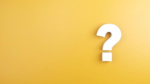 Il segno bianco del punto interrogativo su giallo, 3d rende, minimo e copia lo spazio.