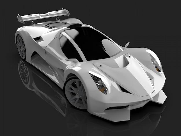 Automobile bianca di concetto di corsa immagine dell'automobile su lucido grigio