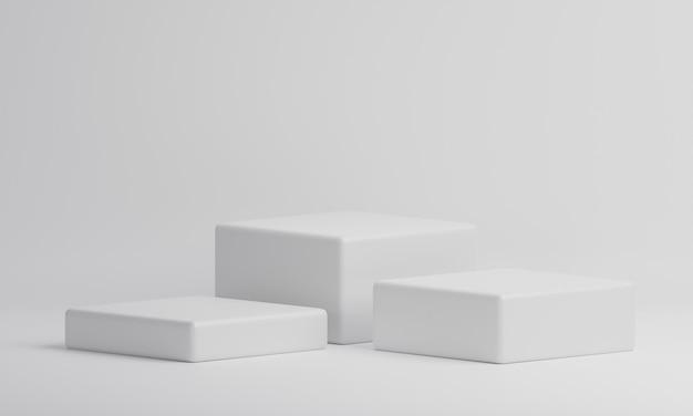 Tabella della vetrina del prodotto del cubo di rettangolo bianco su fondo isolato