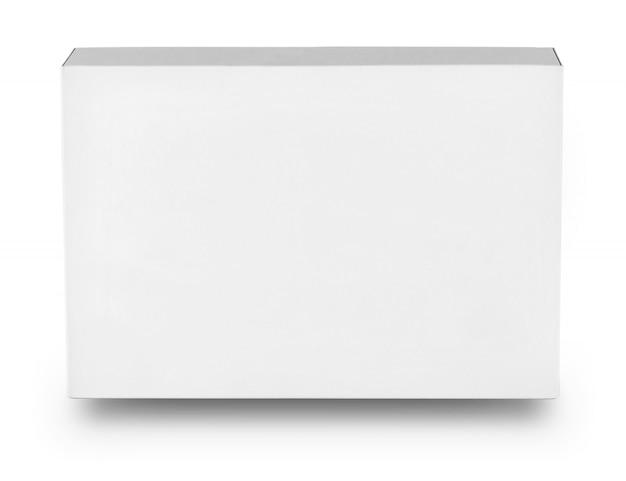 Scatola rettangolare bianca isolata su fondo bianco