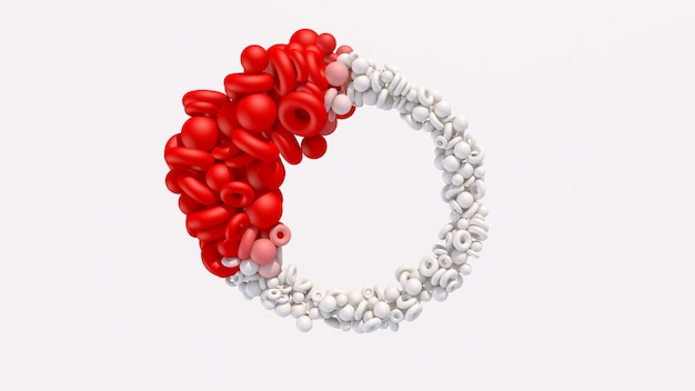 Forme geometriche bianche e rosse che si trasformano. illustrazione astratta, rendering 3d.