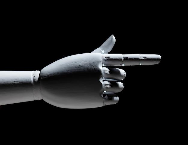 Punto del dito della mano del robot bianco isolato su sfondo nero