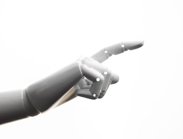 Punto del dito della mano del robot bianco isolato su sfondo bianco