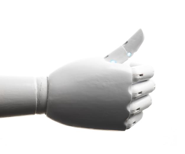 Pollice bianco della mano del robot su isolato su fondo bianco