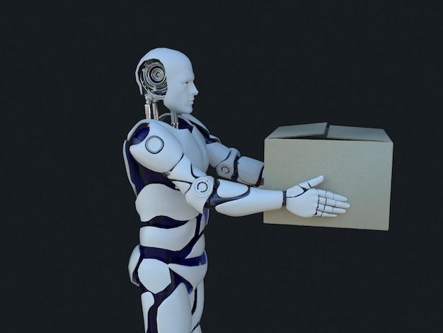 Tecnologia robotica bianca che fornisce scatole