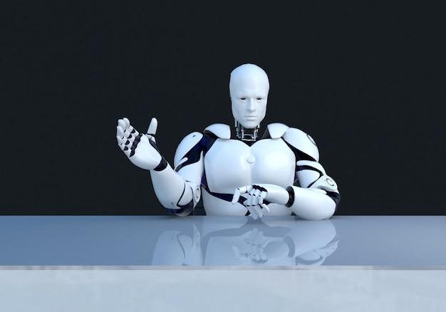 Tecnologia robotica bianca che sta spiegando qualcosa